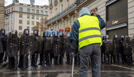 The Gillet Jaune protests in France started as protests against climate related taxes on petrol  -   Photo - Koshu Kunii