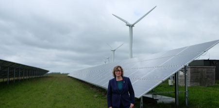 Jo Waltham at Westmill wind and solar farm