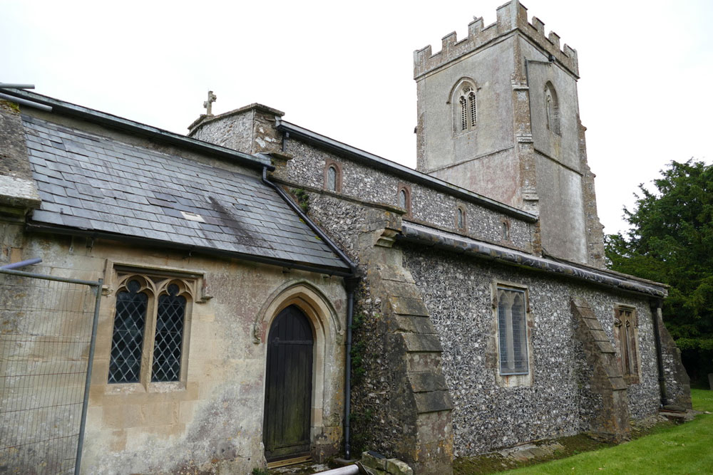 Baydon St Nicholas Church - north aisle roof stripped of its lead and leaky vestry roof
