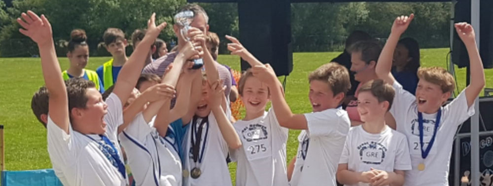 Bedwyn boys with the first place cup