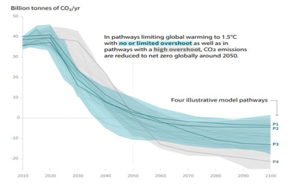 To keep temperature rises below 1.5°C (blue curves) emissions must peak immediately and fall to zero by 2050 (image: IPCC)