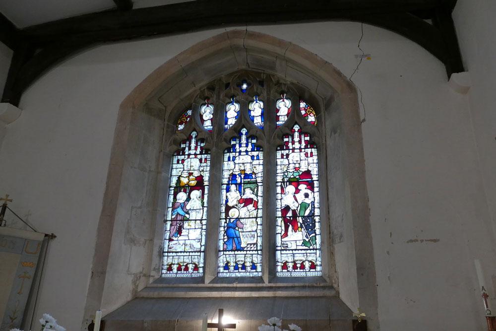 Interior of St Nicholas church showing the cracks