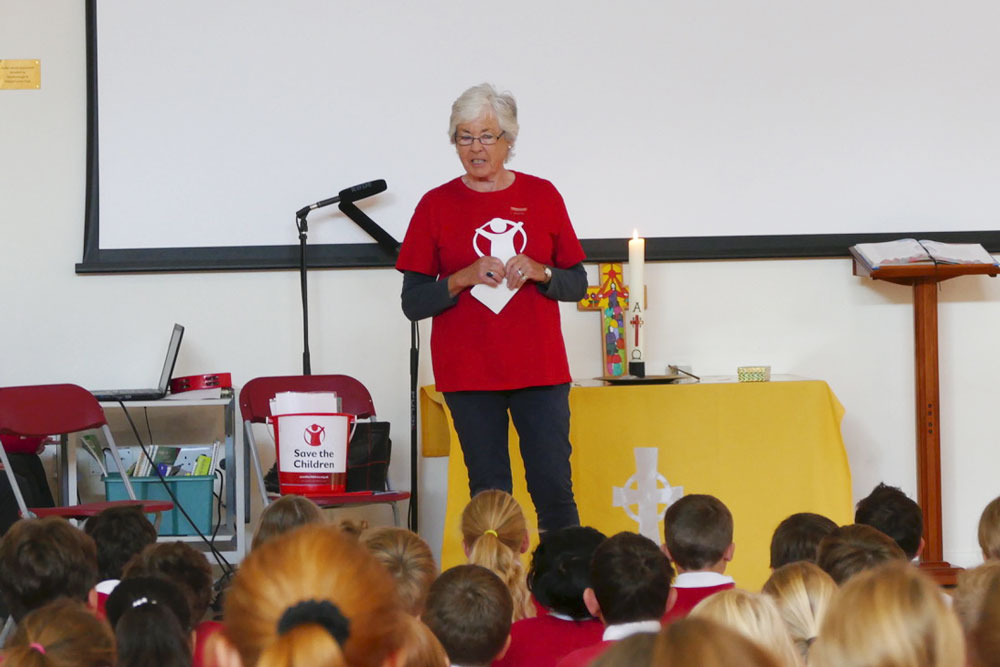 Jennifer Brisker from Save the Children speaking at Marlborough St Mary's Assembly