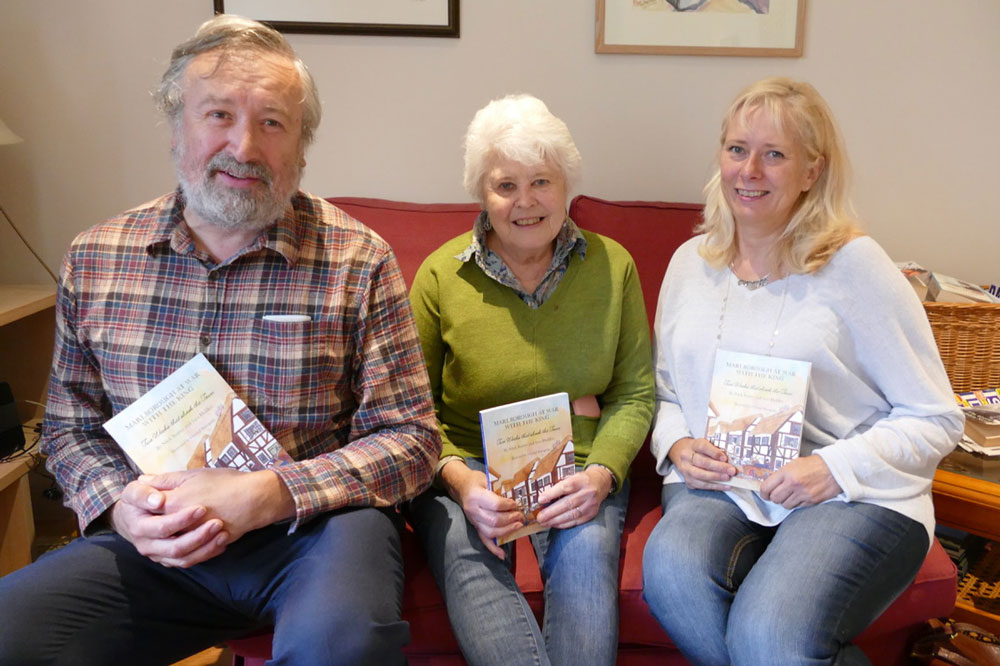 Nick Baxter, Sara Holden and Chantal Bourgonje with their book 'Marlborough at War with the King'