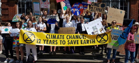 Marlborough students climate protest outside the Town Hall on May 24.  (Photo: D Waltham)