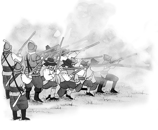 'Musket Shooting, Smoke'  - The battle commences.  One of Chantals illustration