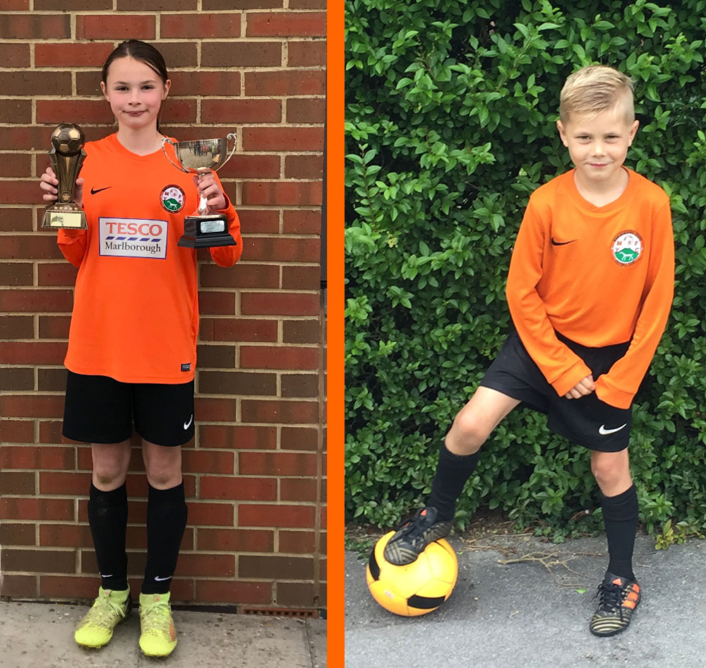 Georgia Galley and Reggie Price, voted Marlborough Youth FC's two Players of The Year