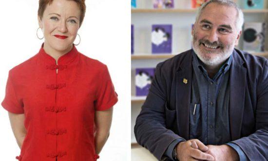 Rosie Goldsmith and Chris Riddell