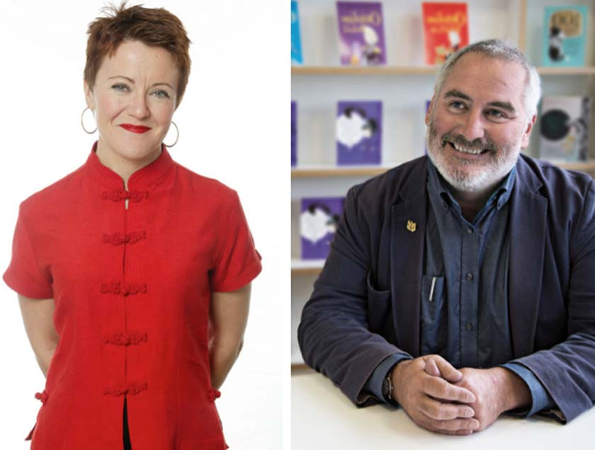 Rosie Goldsmith and Chris Riddell