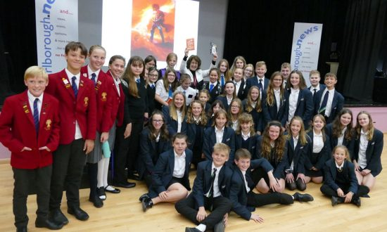 Author Geraldine McCaughrean at the Big School Read with Year 8 students from St John's, St Francis and Pewsey Vale Schools