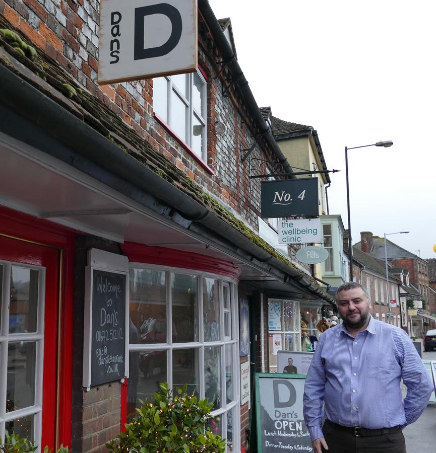 Dan Bond outside his current restaurant, Dan's