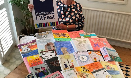 Gillian Macdonald with some of the entries for the LitFest Children's Competition