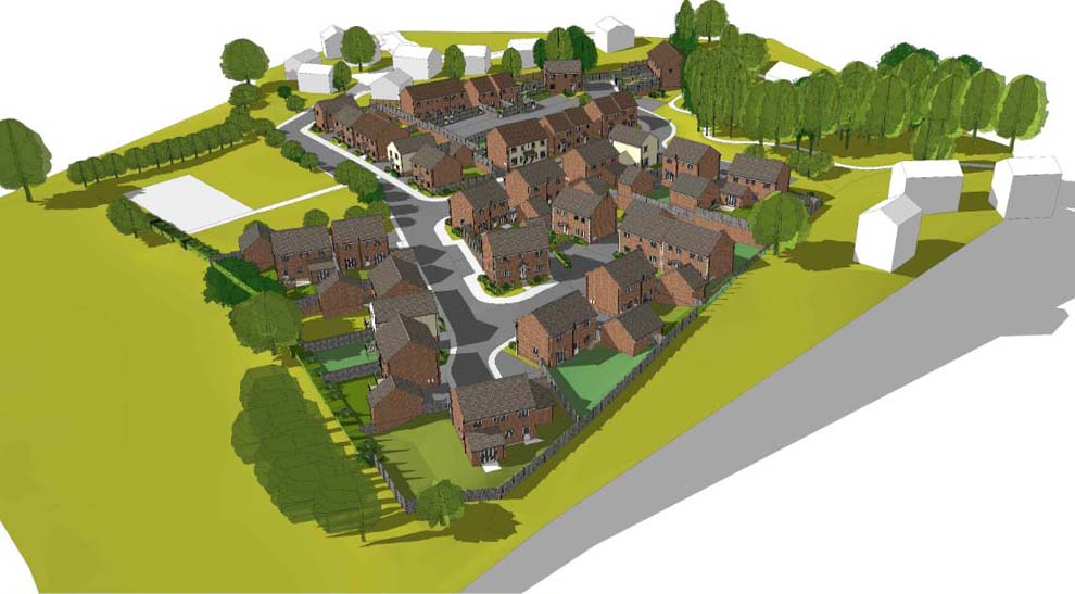 GreenSquare Homes: artist's impression - bird's-eye view looking south-east (The white houses are existing homes)