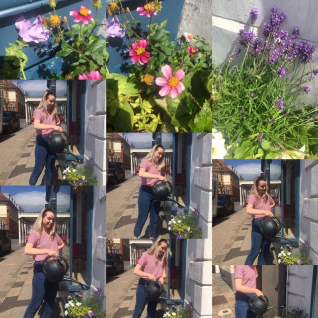 The winning photo showing Lizzie Hunter watering the planters