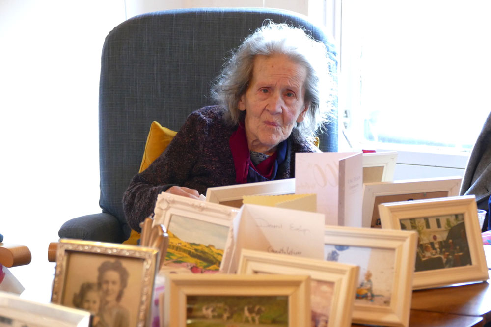 Evelyn Nuir Bell - Celebrating 100th birthday today in Marlborough's Jubilee Centre surrounded by photos from her life