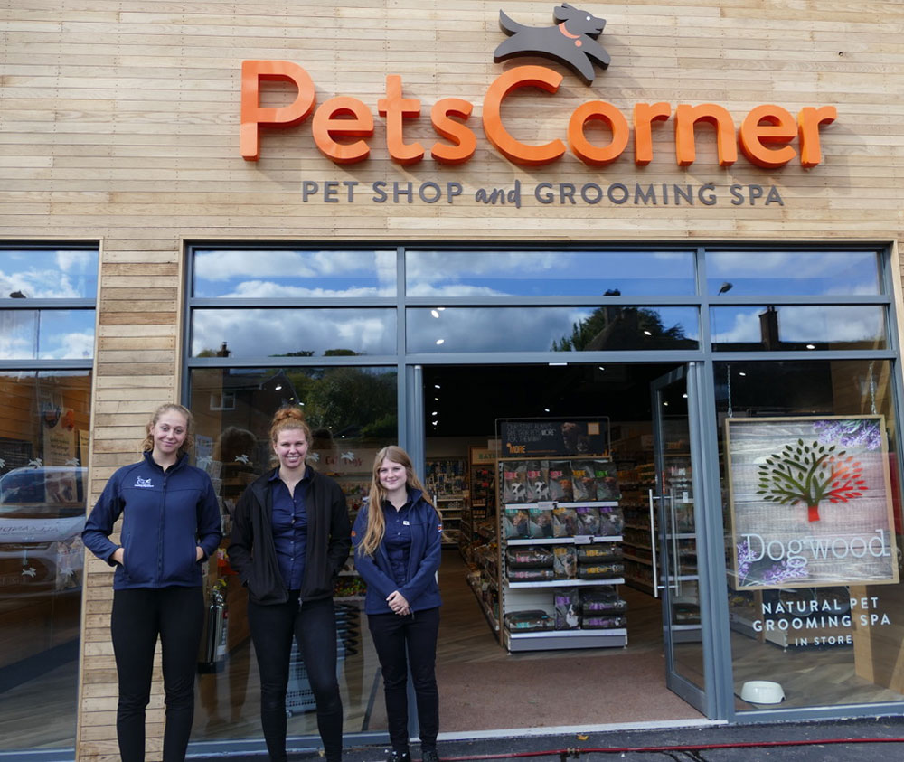 Maegan Hendry, Amber Hall (Manager) and Lola Grubb outside the new Pets Corner in George Lane