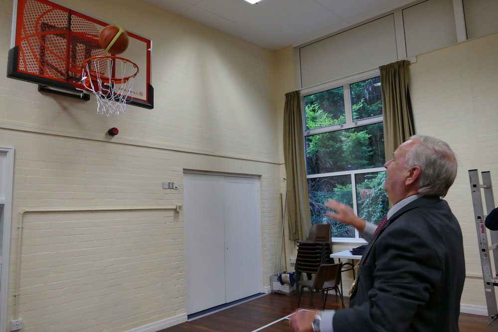 Mayor Mervyn Hall shows his prowess with the hoops
