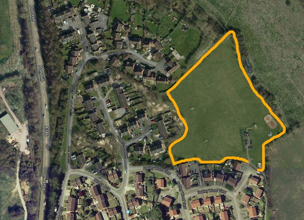 Rabley Wood View - approximate outline of proposed development -  source Googlemap