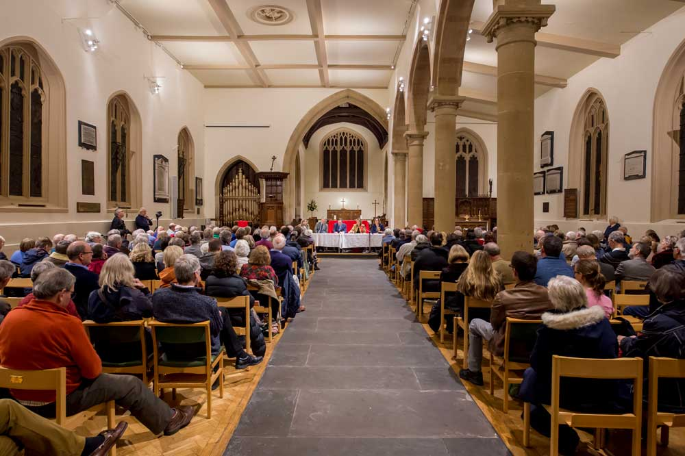 Candidates confront a packed St Mary's last night for Marlborough's General Election Hustings