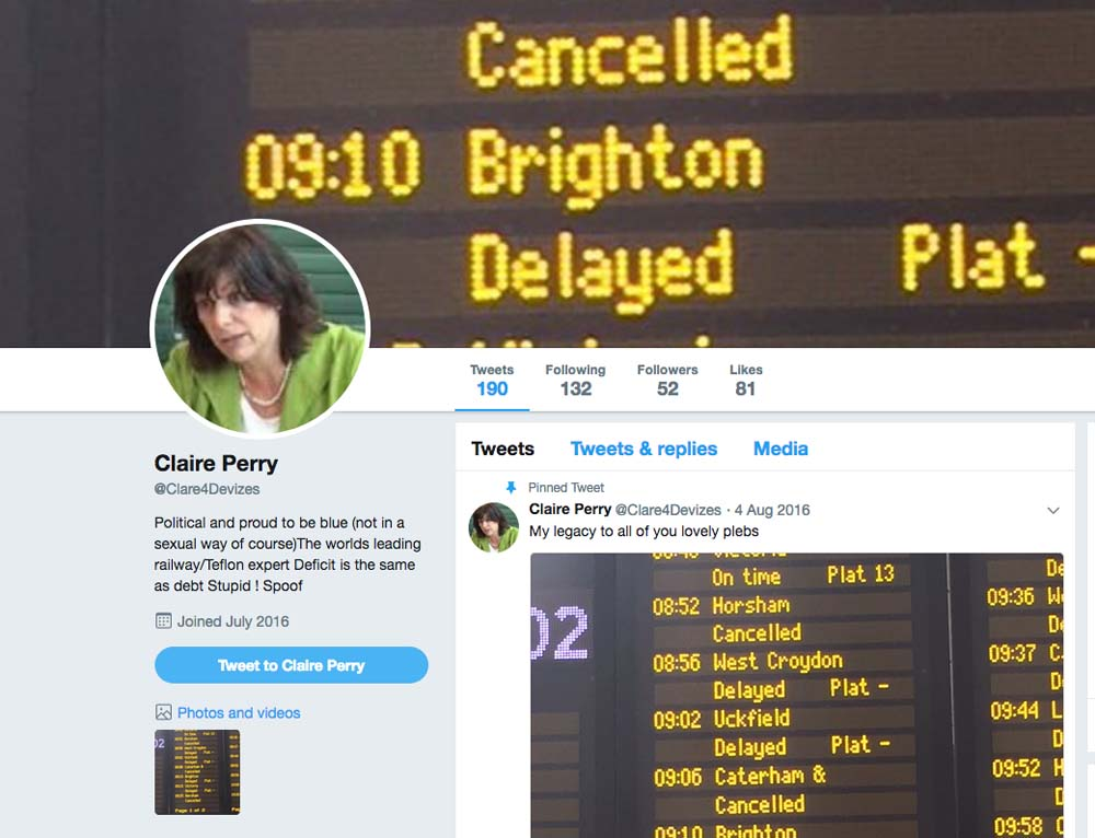 A spoof Twitter account highlights train cancellations & delays