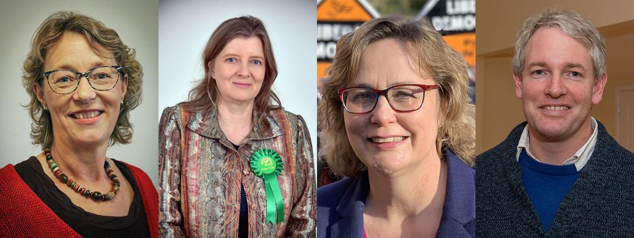 Election 2019 candidates (l-r) - Rachel Ross (Labour), Emma Dawnay (Green), Jo Waltham (Lib Dem), Danny Kruger (Conservative)