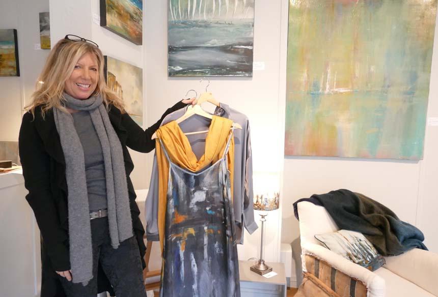 Liz Harwood displaying her silk layering clothes