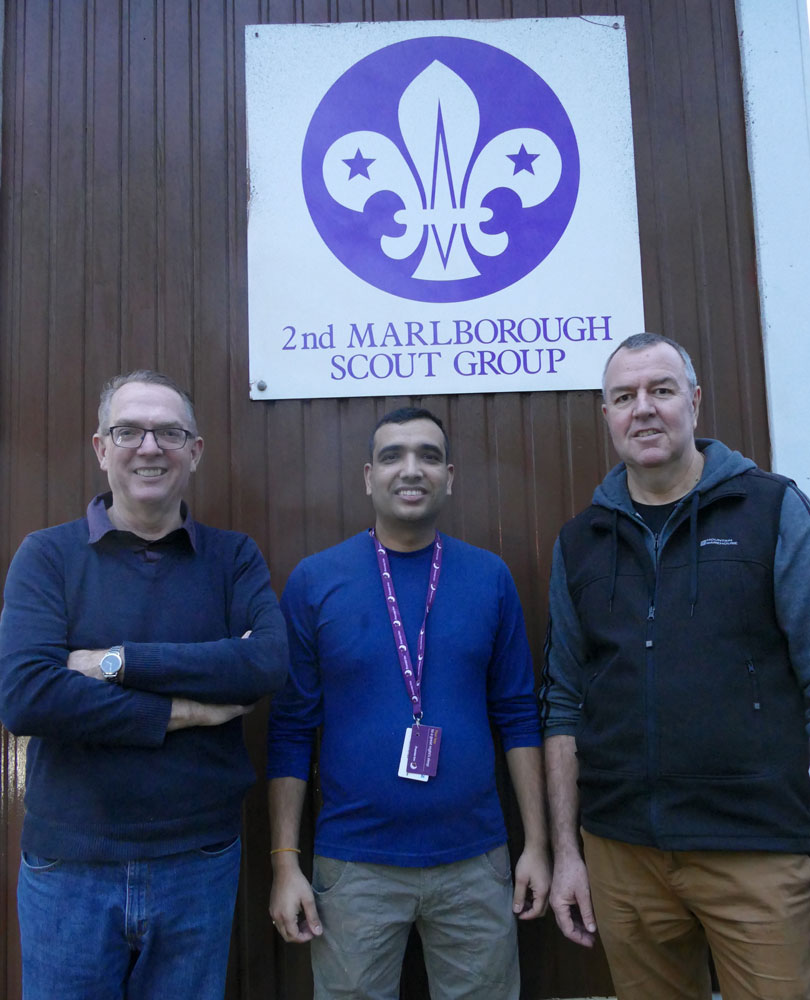 From left to right Dave Waltham, Bishwa Ghimire (Deputy Manager, Premier Inn) and Derek Baker