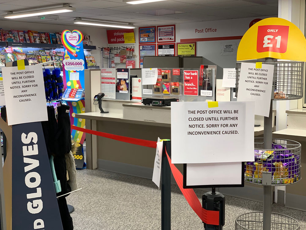 Post Office counters at the rear of One Stop - closed.   Pic: Pete Davies