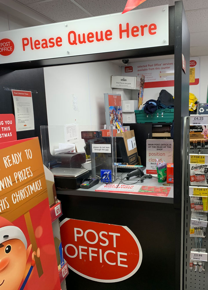 Post Office front counter earlier today - Saturday 30 November