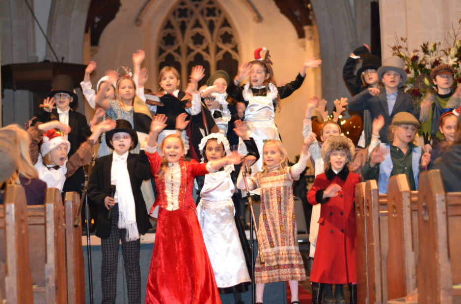 Great Bedwyn pupils at their Victorian Christmas Concert