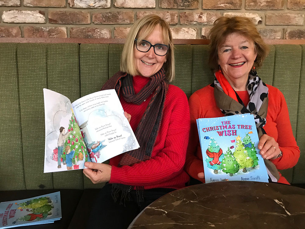 Karen Inglis and Anne Swift with their book 'The Christmas Tree Wish'