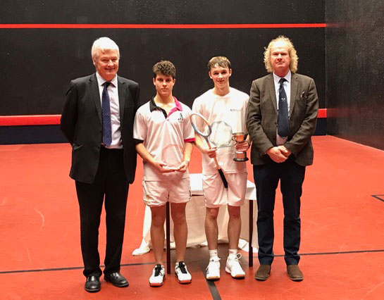 Taken on the Bridgeman Court at the Queen's Club:  (l to r) R Wakely, M Sutton (Cheltenham College), A Renwick, D Makey (Chairman, RPA Rackets Professionals' Association)