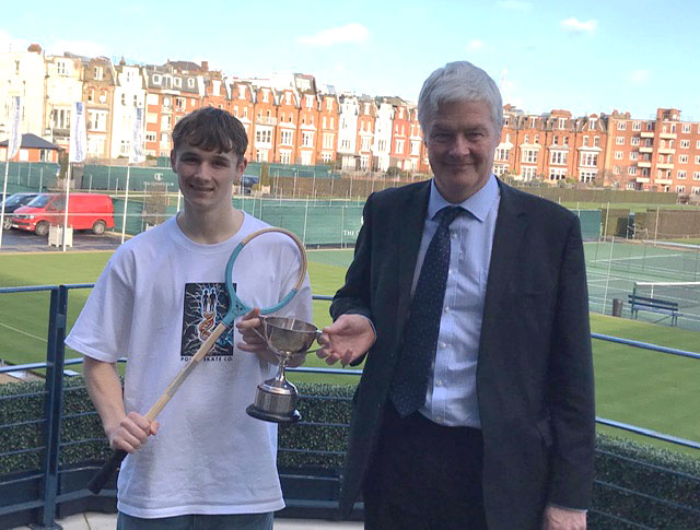 Taken on the terrace at the Queen's Club: Alex Renwick and Rob Wakely (the Rackets Professional at Marlborough College who has been his coach and mentor)
