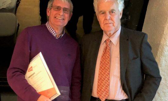 Colin Gratton with his award & Sir Geoffrey Owen, President of Wiltshire LTA