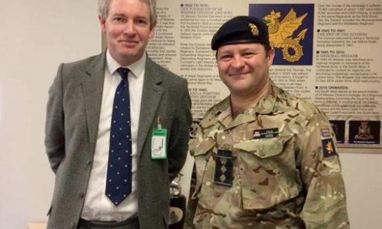 Danny Kruger MP with Col Andrew Dawes, Commander South West in Tidworth