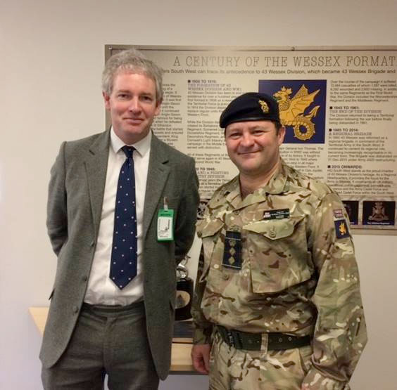 Danny Kruger MP with Col Andrew Dawes, Commander South West in Tidworth
