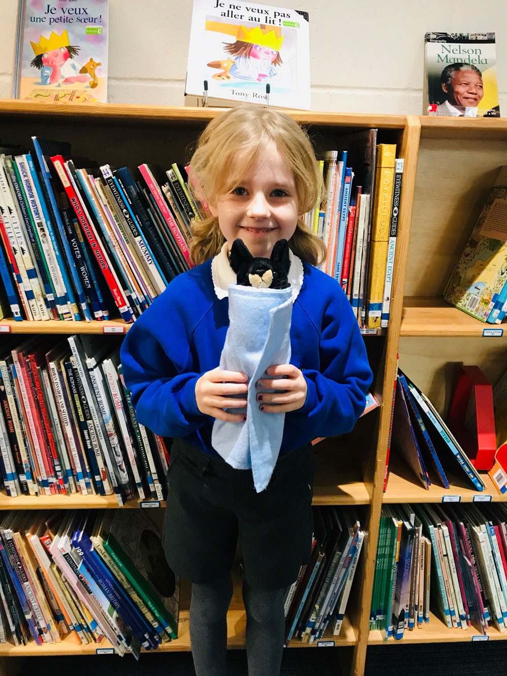 Evie, Class 2, Ramsbury Primary with her fruit bat wrap