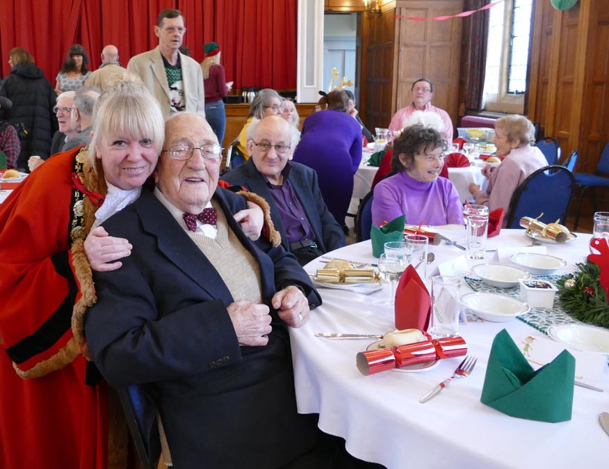 Mayor Lisa Farrell with George Johnston at the 2018 Christmas Lunch
