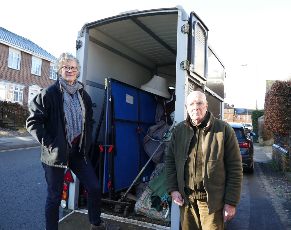 Sue and Jeremy Riches with their horse trailer where they discovered four illegal immigrants