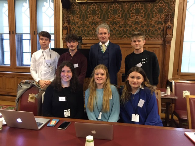 The Thriving Though Venture group that presented to the House:  Back row Left to right - Callum Roberts, George Amos, Danny Kruger MP, Jack Hughes:   Front row Maisie Medcalfe, Libby Yeoman and Izzie Harte