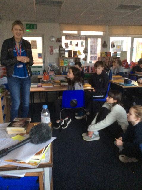 Author Jane Hardstaff speaking to class 6 at Preshute Primary School