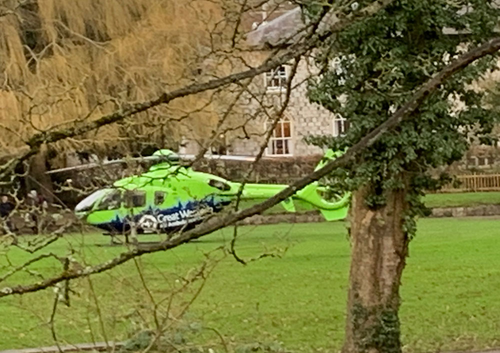 Air Ambulance in Priory Gardens - pic:  Martin Stimpson