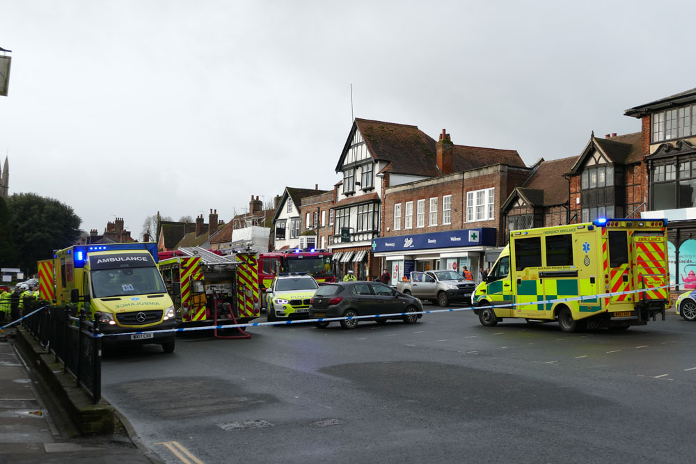 Emergency services gather at the scene of the road accident closing the High Street