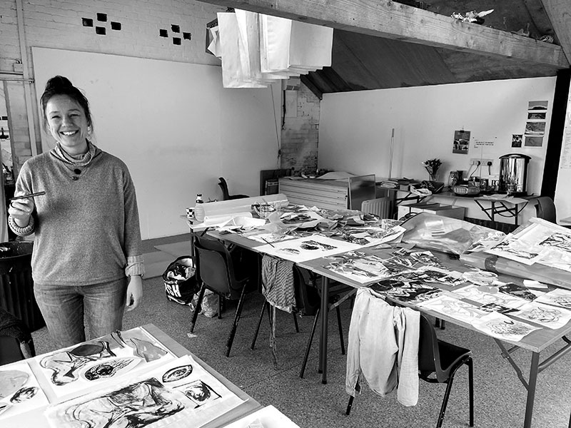 Lucy Farley in the studio at Rabley Drawing Centre