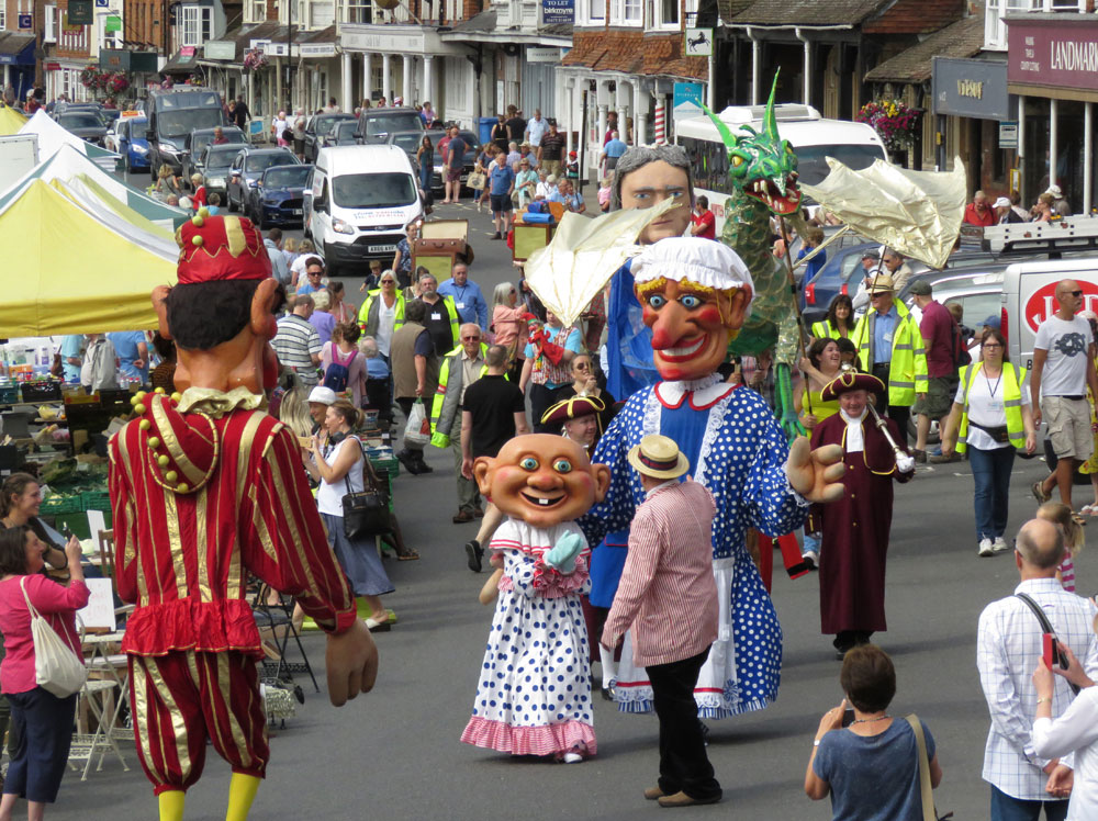 Some of the very large puppets from the inaugural High Street Puppet Parade in 2017