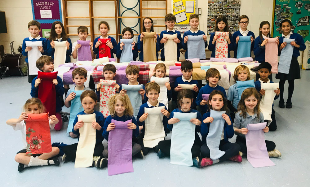 Children from Ramsbury Primary displaying their bat wraps
