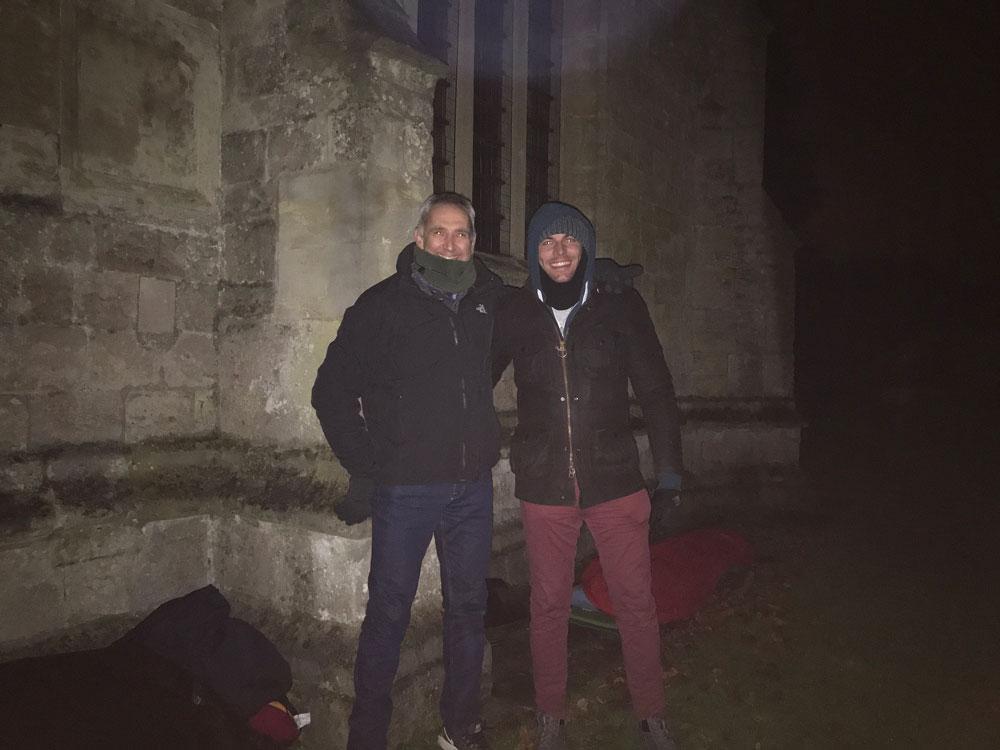 Richard Hay and Joe Bunton prepare for a night sleeping outside