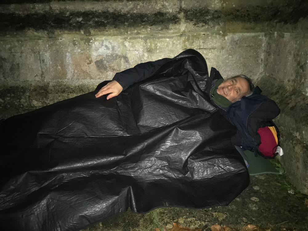 Richard Hay sleeping outside of St Mary's church