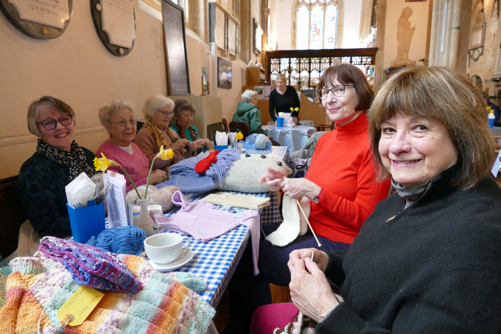 Some of the Prospect Hospice Knitters:  LH  -  Glen Mathias, Helena Weston, Nora Curnick ,Judy Winterbottom;   RH:  Sally Lanfear, Kay Arthur