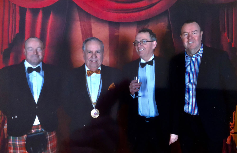 Left: Ken McDoughall (Group Scout Leader), Mervyn Hall ,Dave Waltham (Treasurer), Derek Baker (Chairman 2nd Marlborough Scouts)